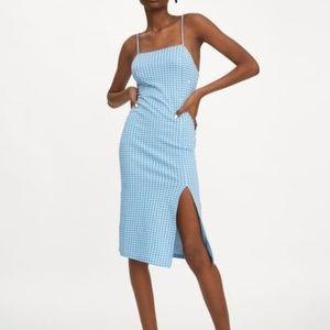 Zara Blue and White Checkered Dress NWT